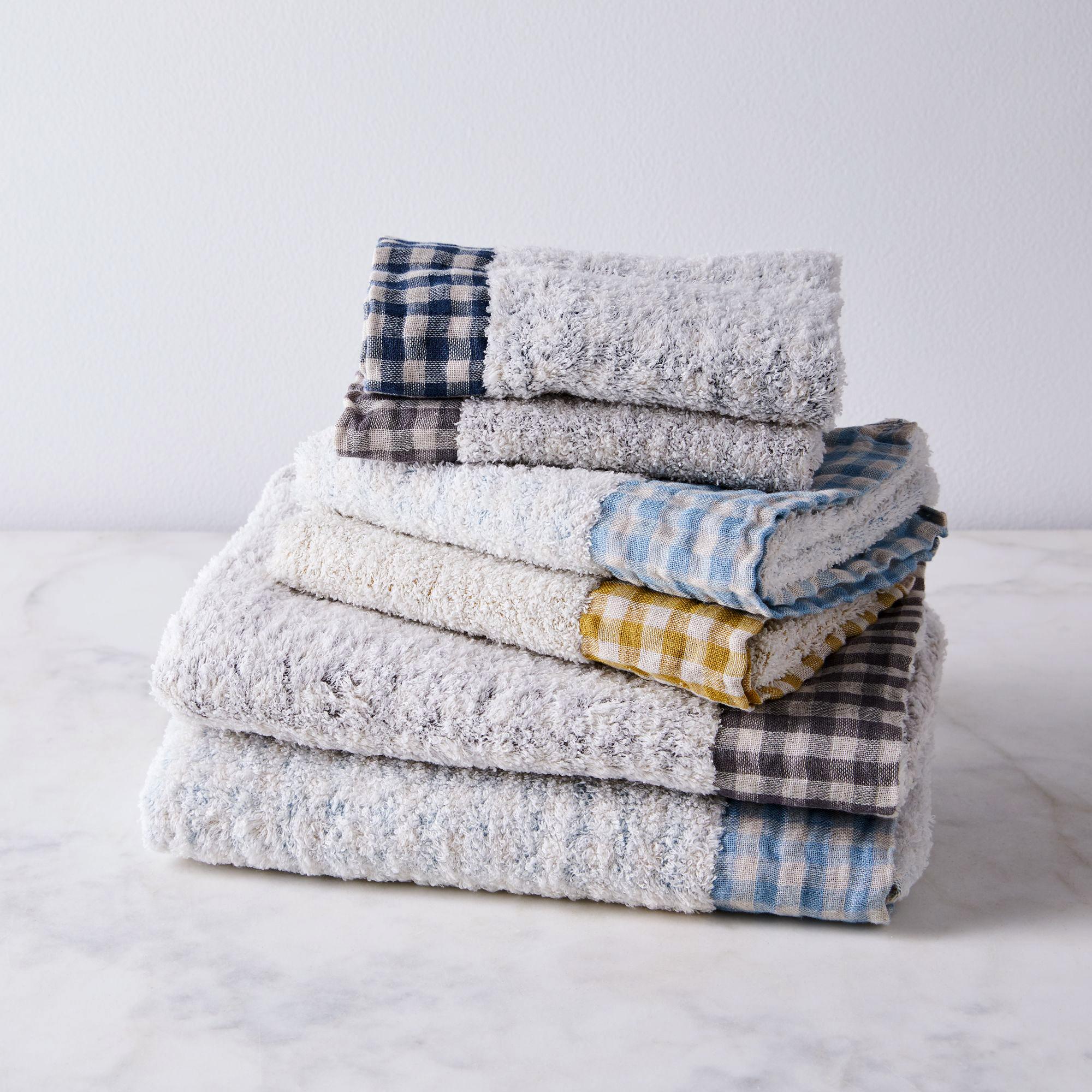 gingham edged bath towels