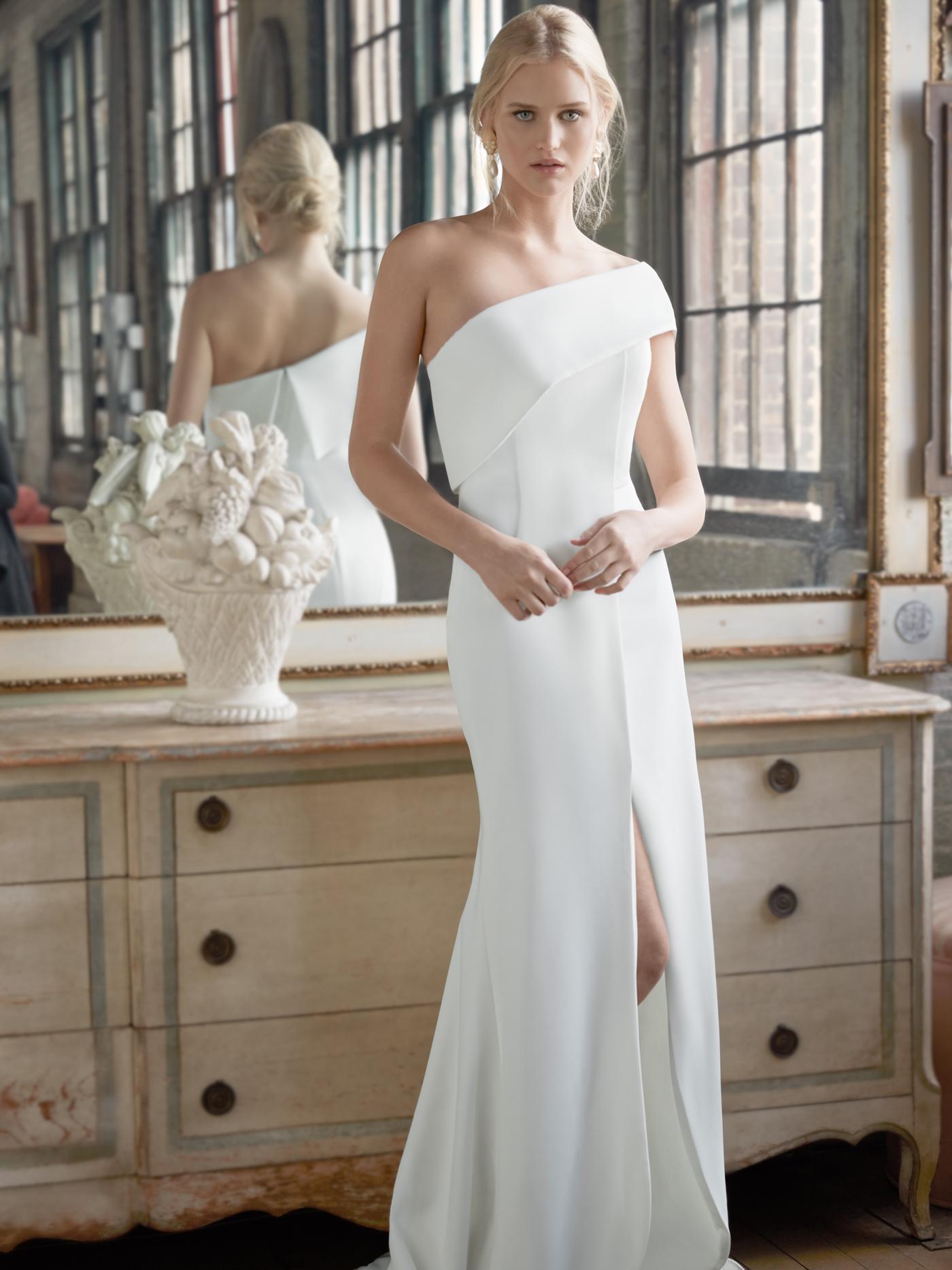 Sareh Nouri one shoulder side slit a-line wedding dress fall 2020