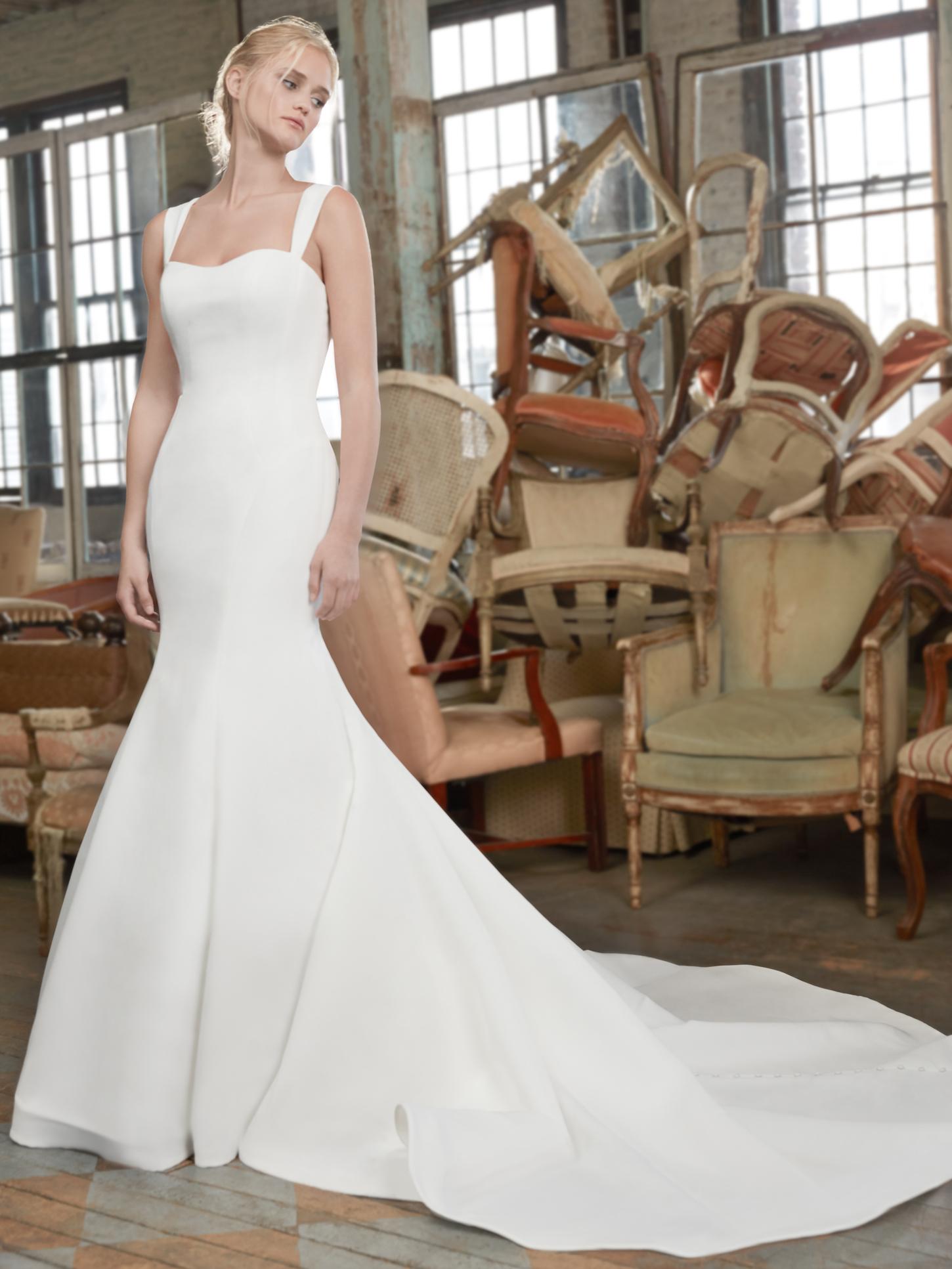 Sareh Nouri thin strap semi-sweetheart mermaid train wedding dress fall 2020
