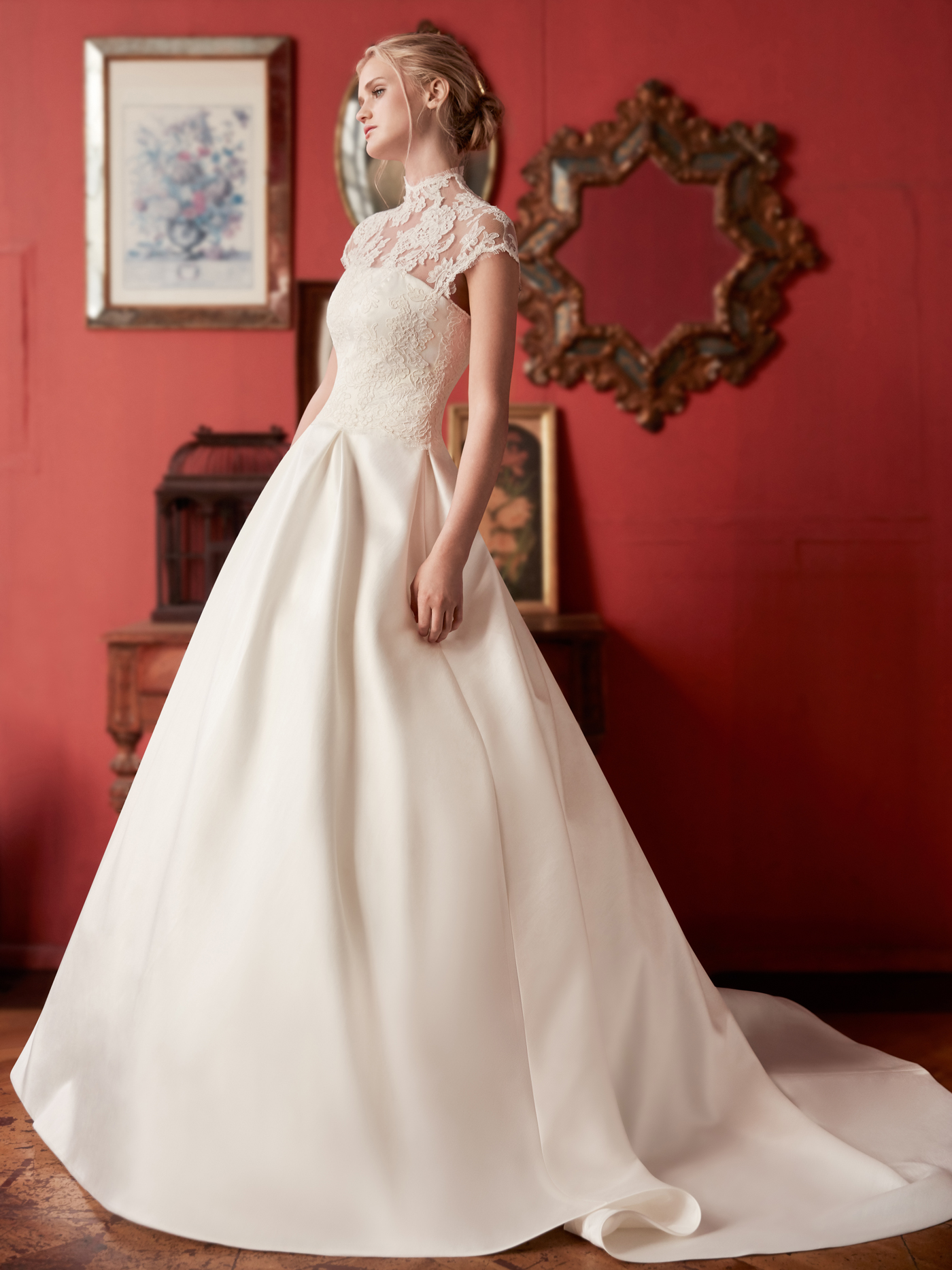 Sareh Nouri lace high nick cap sleeve a-line wedding dress fall 2020