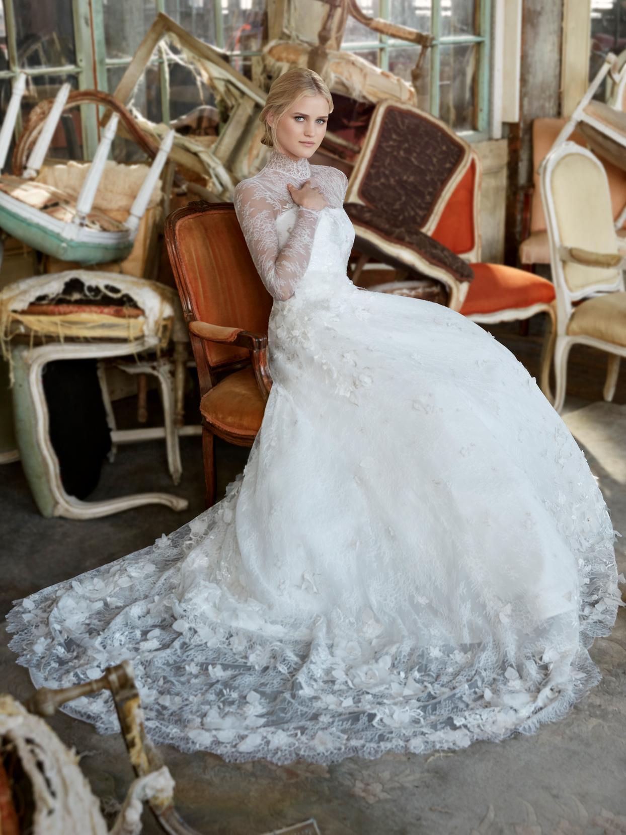 Sareh Nouri lace illusion high neck long sleeve a-line wedding dress fall 2020