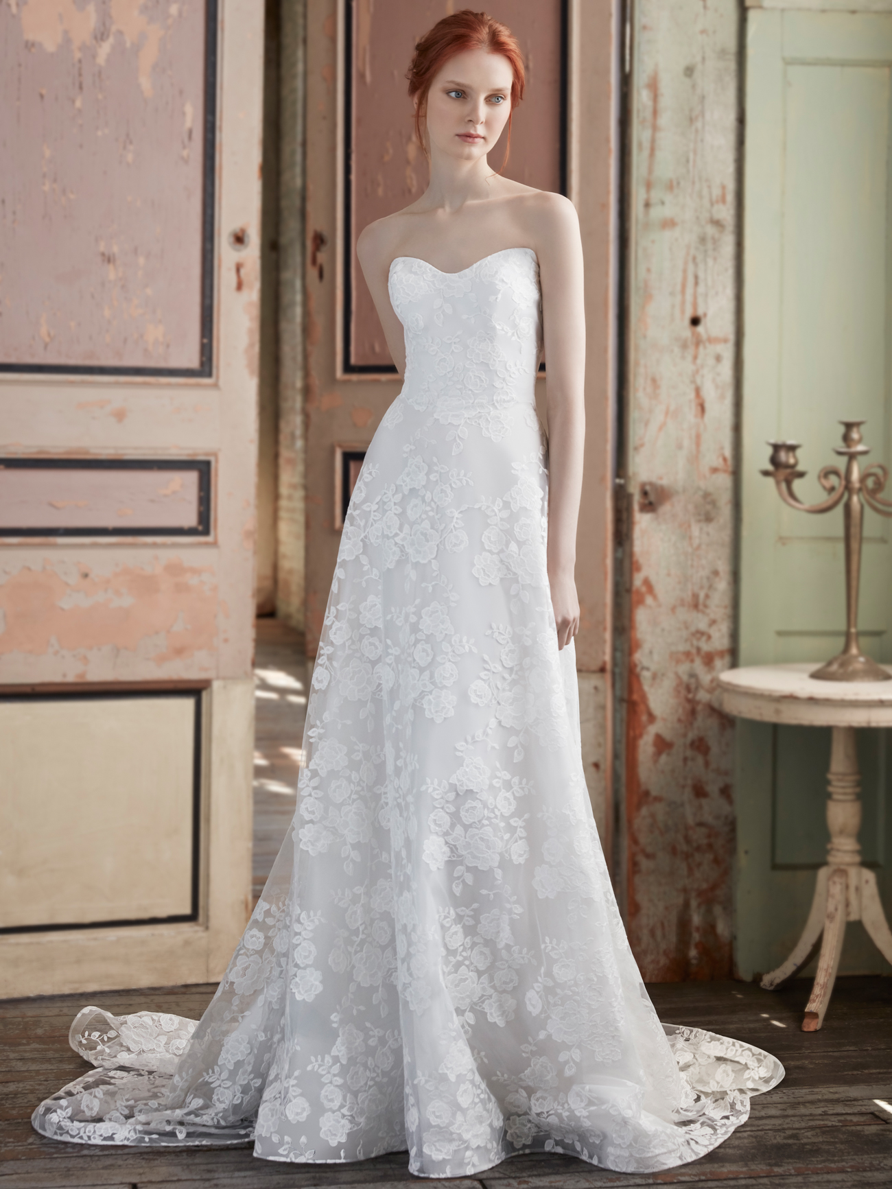 Sareh Nouri strapless semi-sweetheart lace a-line wedding dress fall 2020