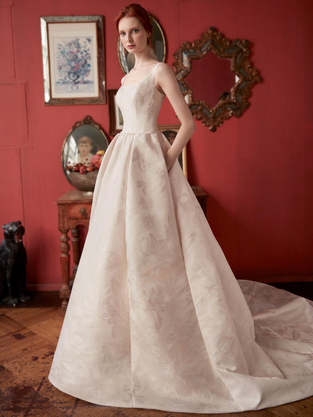 Sareh Nouri thin strap scoop neck pockets a-line wedding dress fall 2020