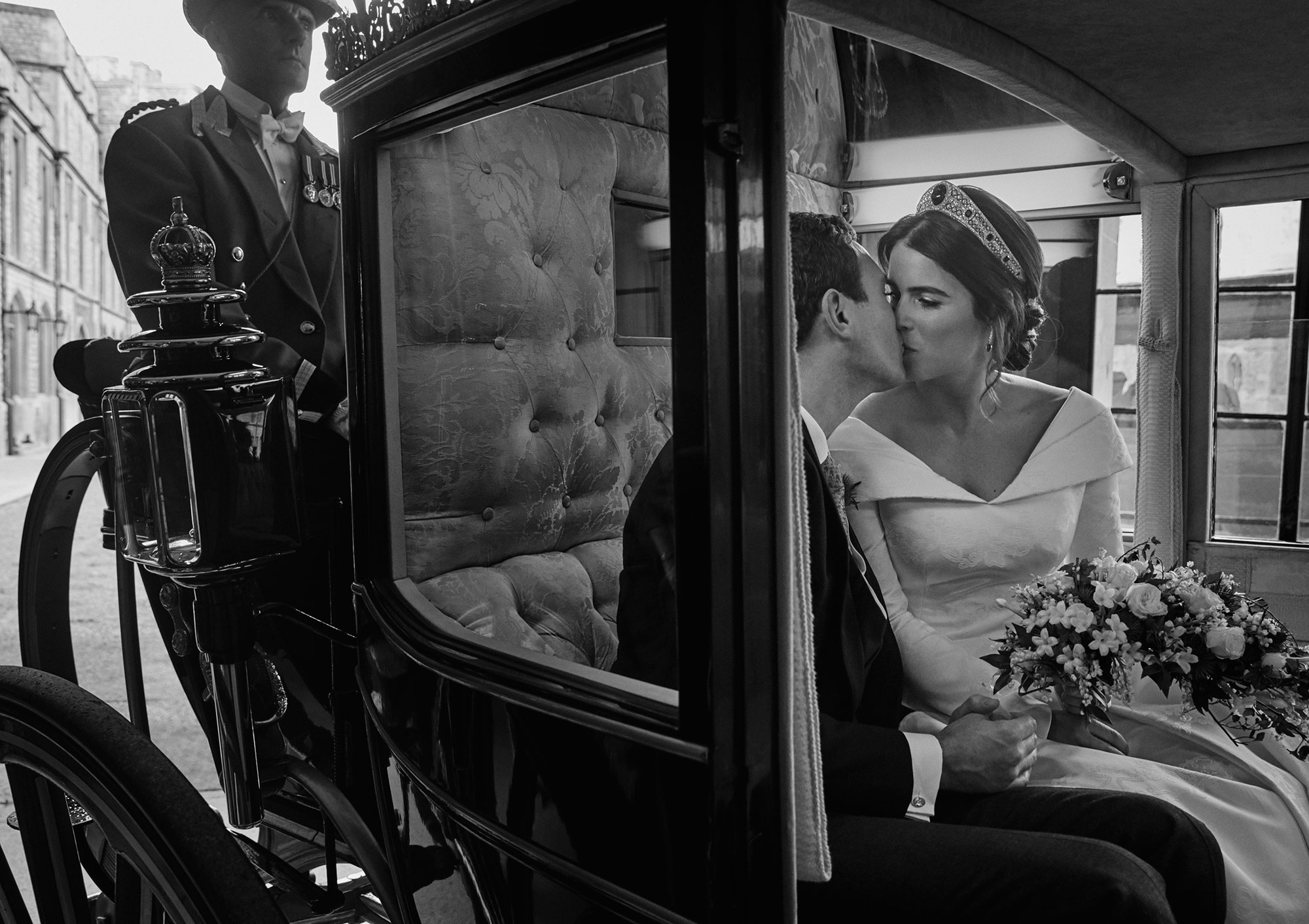 Princess Eugenie and Jack Brooksbank in carriage