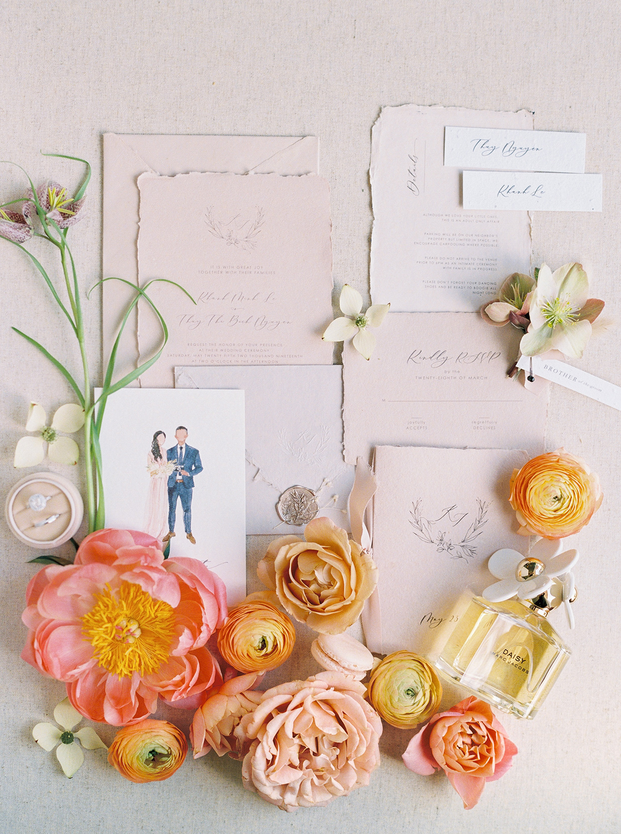 thuy kahn rustic wedding invitations with bright citrus flowers