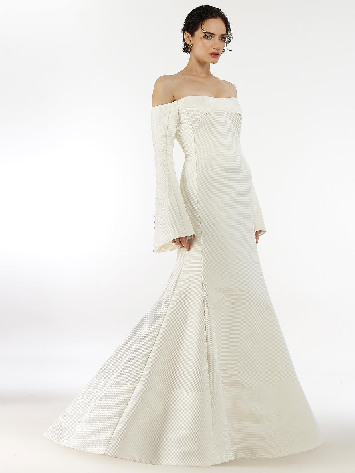 Steven Birnbaum straight across off-the-shoulder long bell sleeve mermaid wedding dress fall 2020