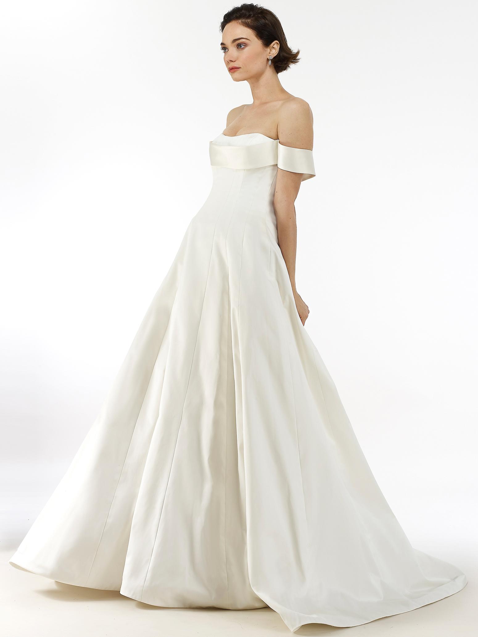 Steven Birnbaum off-the-shoulder semi-sweetheart a-line wedding dress fall 2020