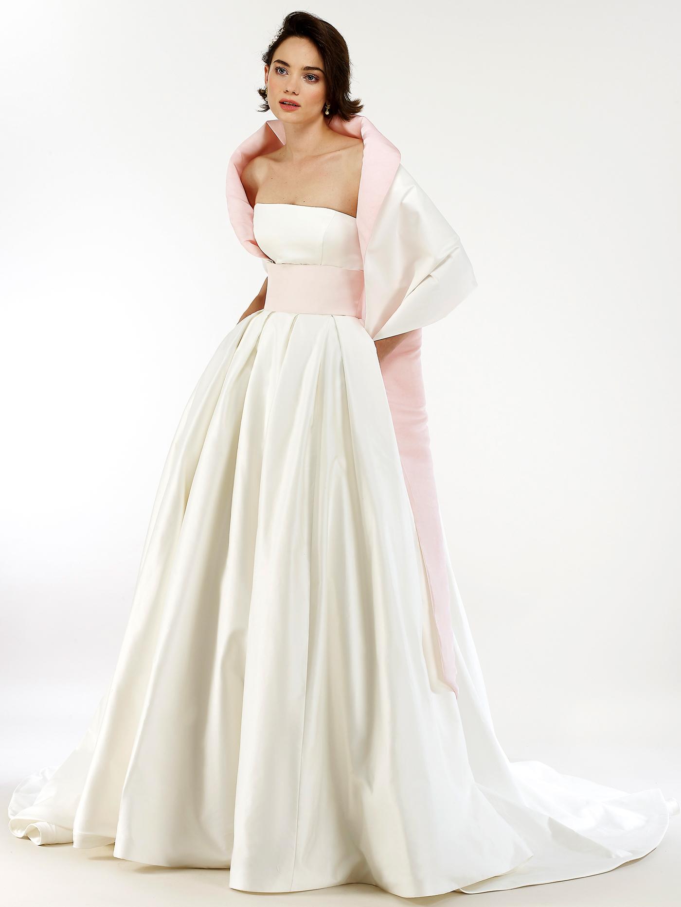Steven Birnbaum pink cape shawl and waist band straight across a-line wedding dress fall 2020