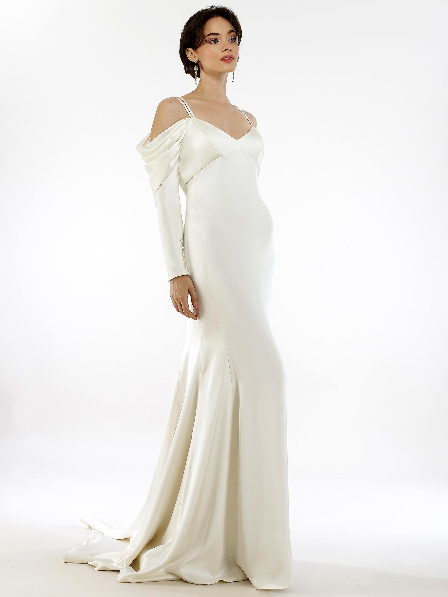 Steven Birnbaum v-neck fit and flare long sleeve thin strap wedding dress fall 2020