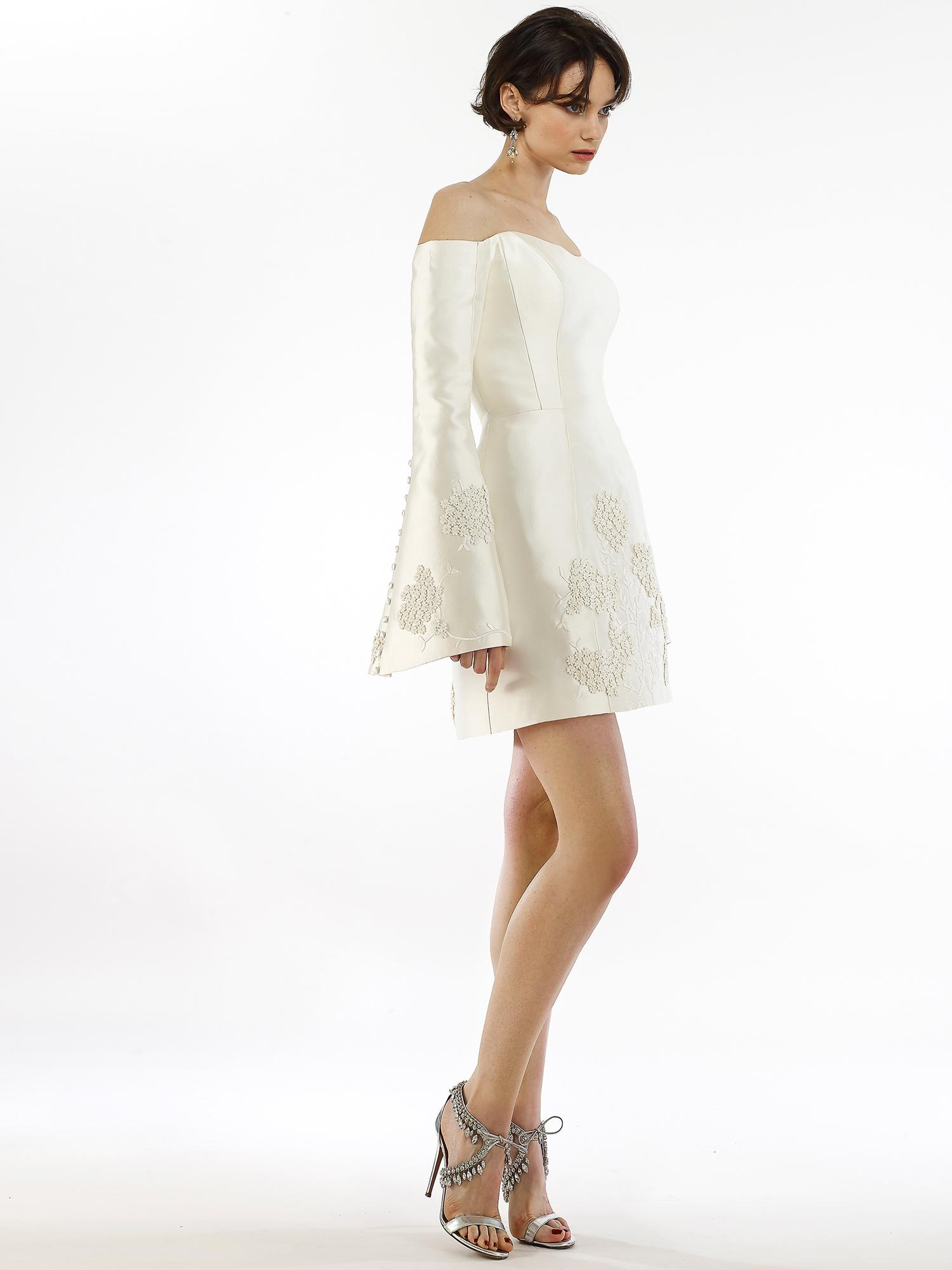 Steven Birnbaum off-the-shoulder mini long bell sleeve wedding dress fall 2020