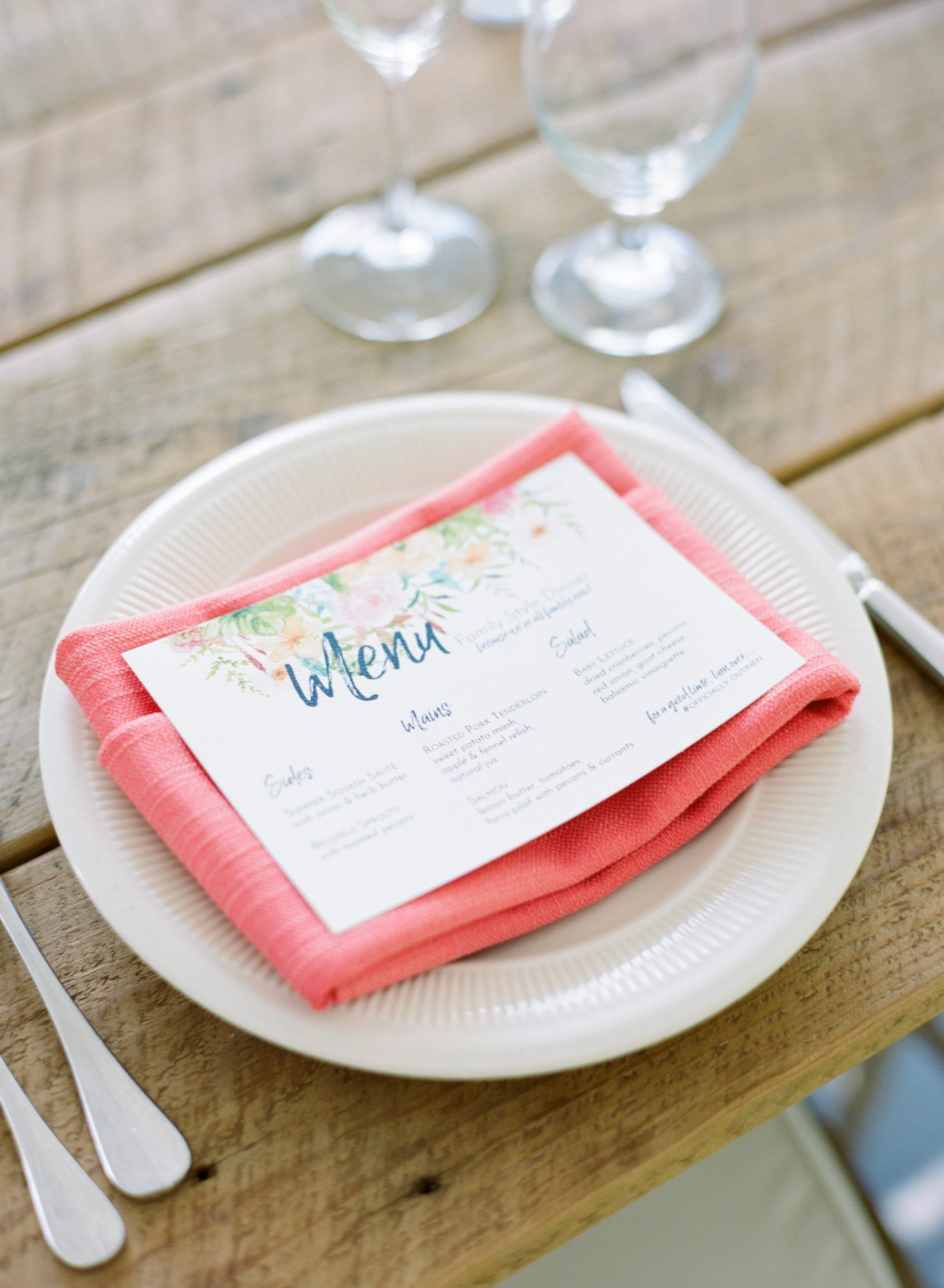 charlene jeremy wedding menu and place settings