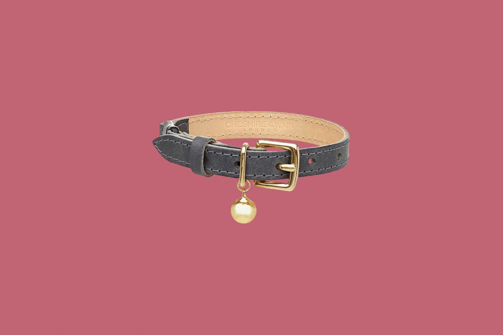 Cheshire & Wain Grey Leather Cat Collar
