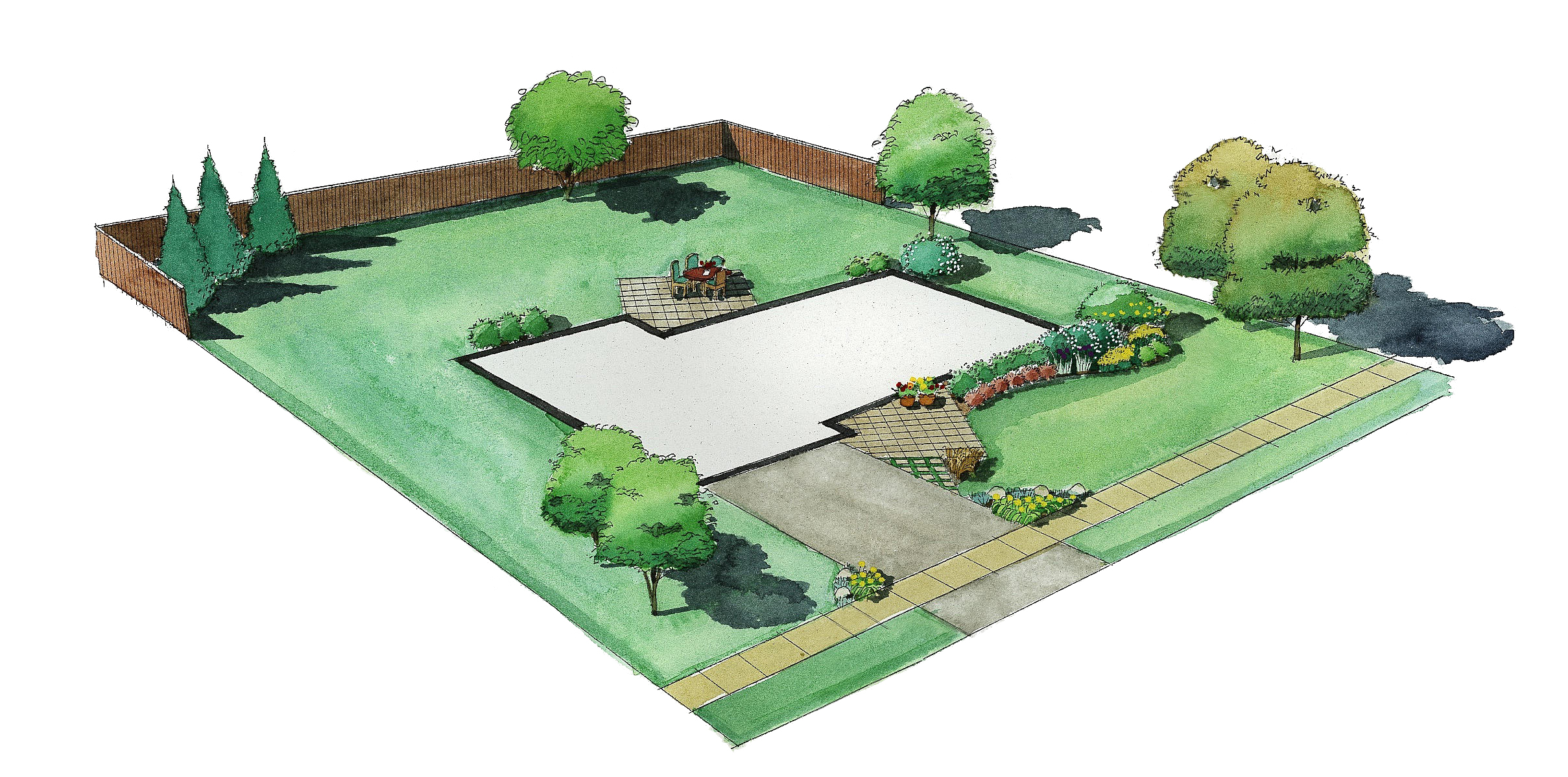 Second Year Plan With Patio With Furniture And Flower Beds At Front Of House