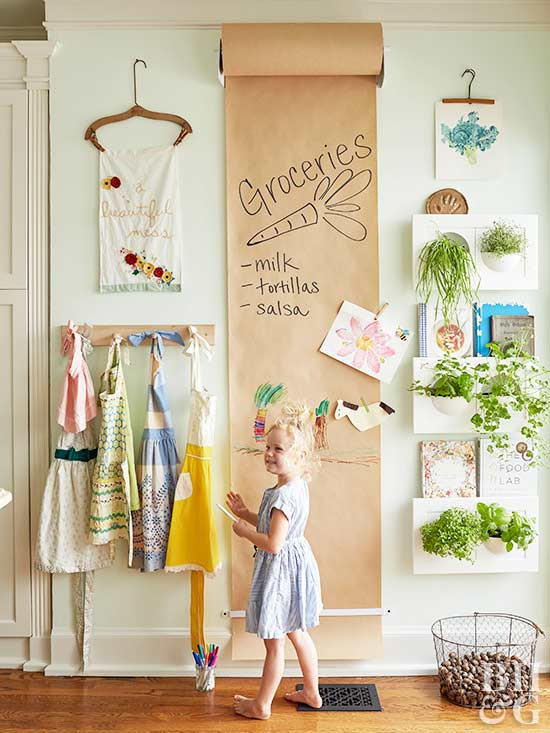 kitchen, plants, little girl, aprons
