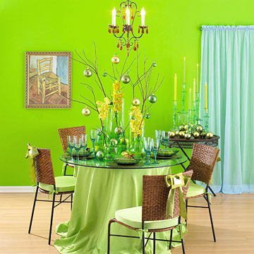 Table Setting in Lime Green with Twigs