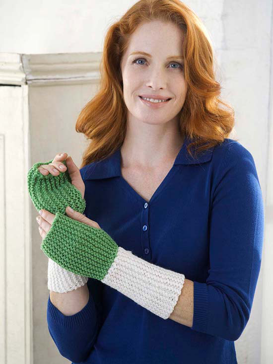 Woman with green and white wristers on