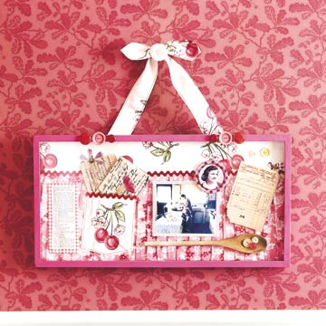 cherry theme scrapbook collage in hanging frame