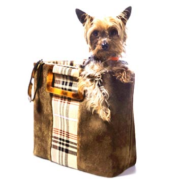 Brown Suede with Plaid Stripe Tote