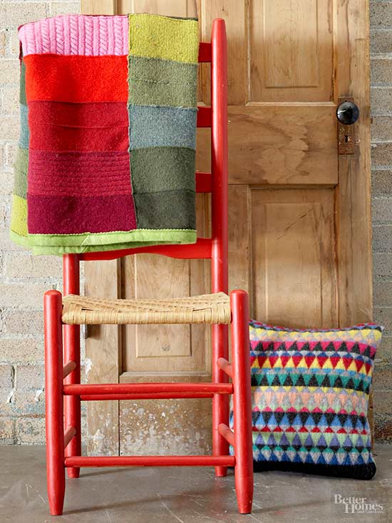 blanket, chair and pillow