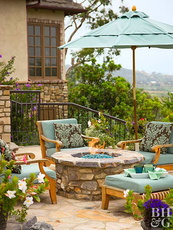 outdoor patio with fire table