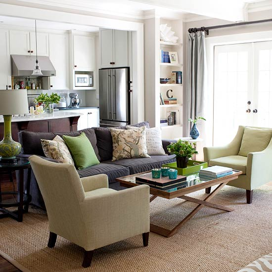 Green And Brown Living Room