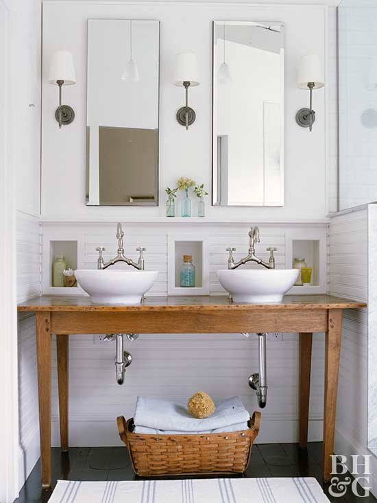 reclaimed wood double vanity