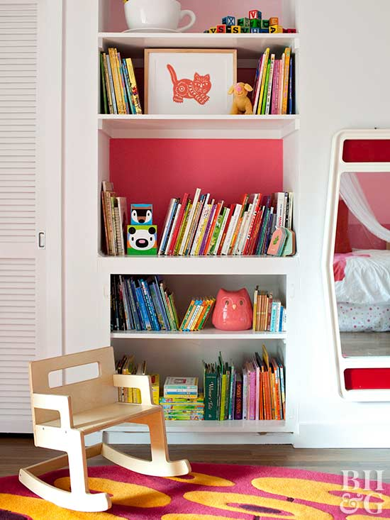 Child's room with built-in shelves