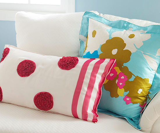 Two accent pillows made from repurposed scarves