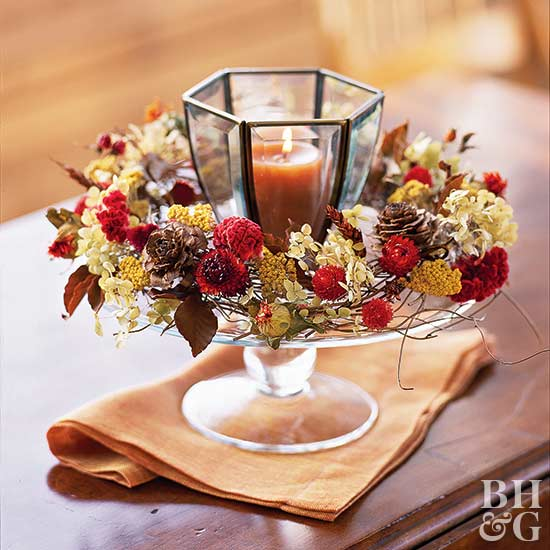 Dried floral candle centerpiece