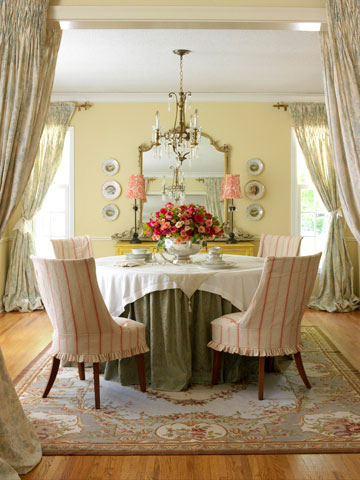 Country French yellow dining room