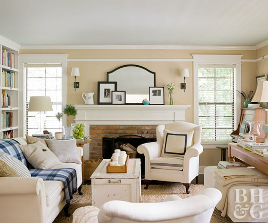 white and ivory living room