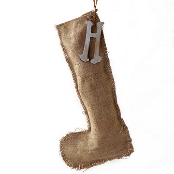 Burlap stocking with initial