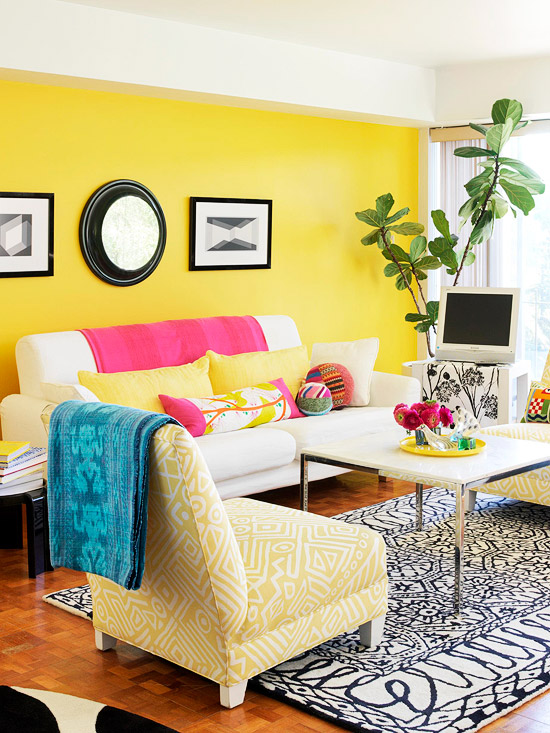 Creamy Yellow Canvas Accent Wall