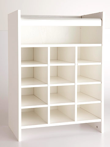 White box shelf with lots of cubbies