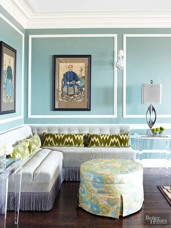 Blue Walls With Natural Flair. Living Room