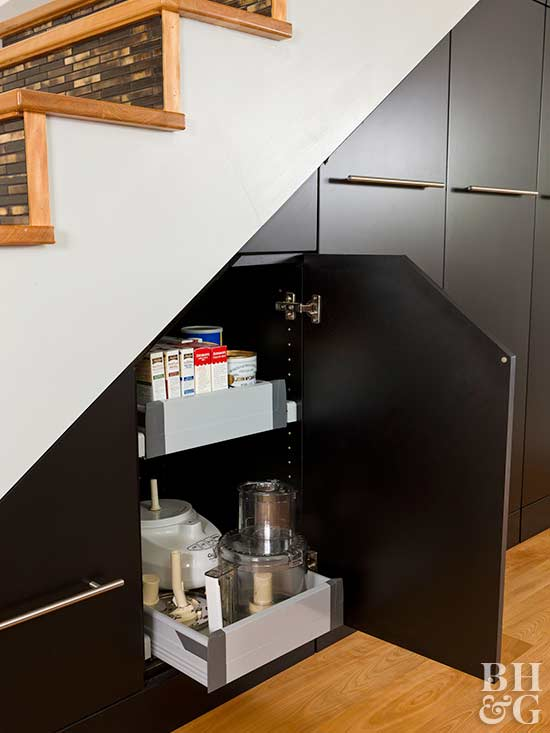 adams kitchen, stair storage, black cabinets, modern, home
