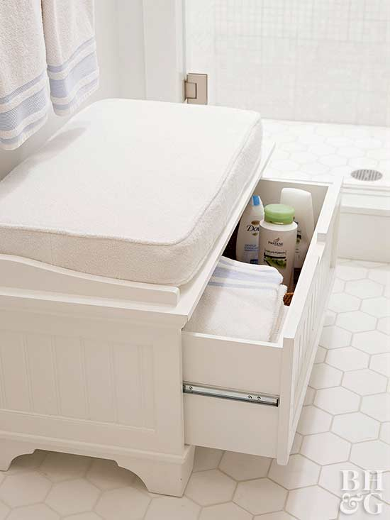 bathroom seat with drawer storage