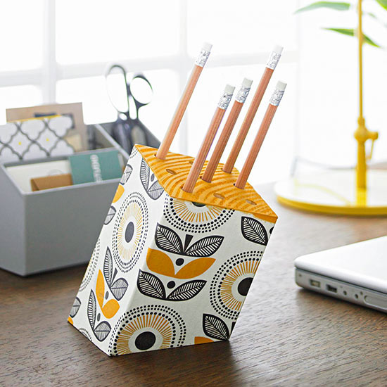 Paper-covered pencil holder