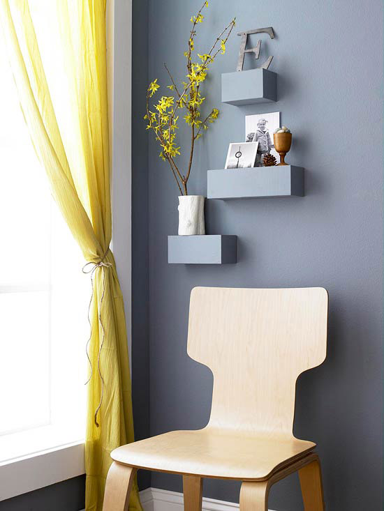Gray shelves above wood chair