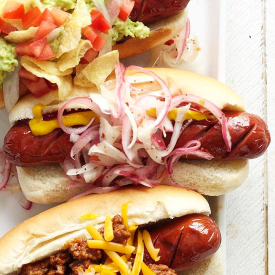 Tube Steaks with Pickled Onion Topper