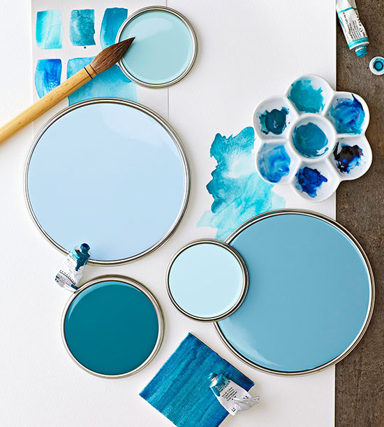 Watercolor Blue Paint Colors