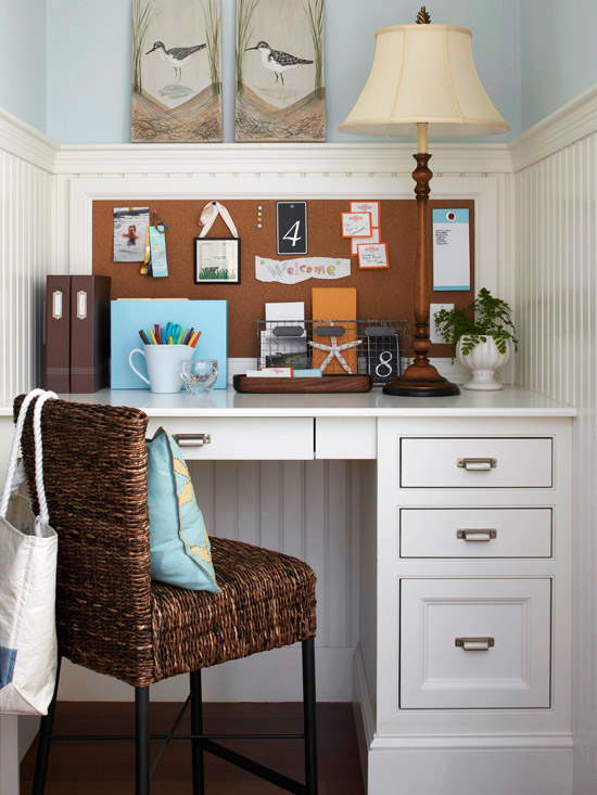 Home Office Design Decorating Ideas: Small-Space Home Offices: Storage & Decor