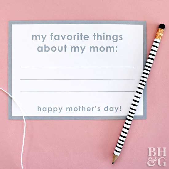 favorite things about mom card