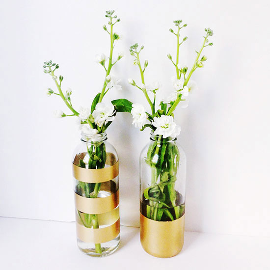 Gold-painted vases