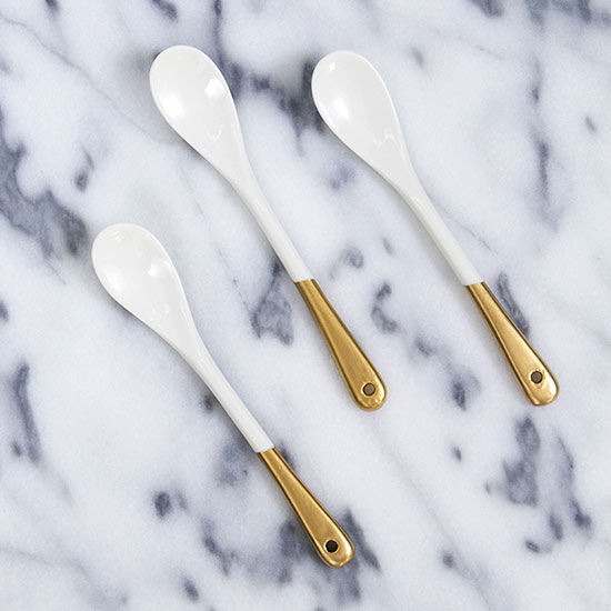 Gold-painted spoon handles