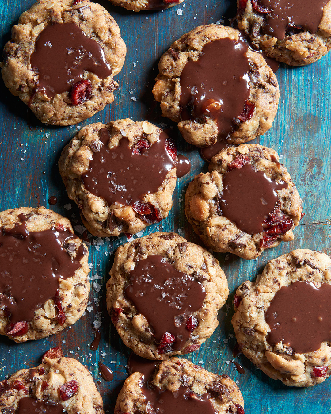 Bourbon Cranberry Cookies on blue wooden table