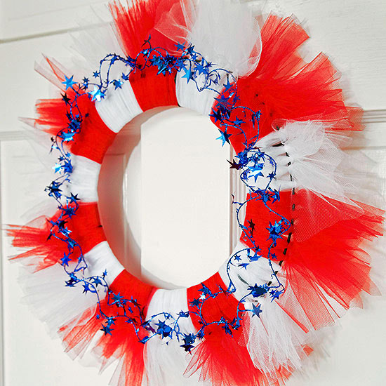 Red, White, and Blue Tulle Wreath