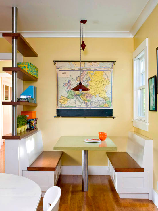 Vintage map in kitchen breakfast nook