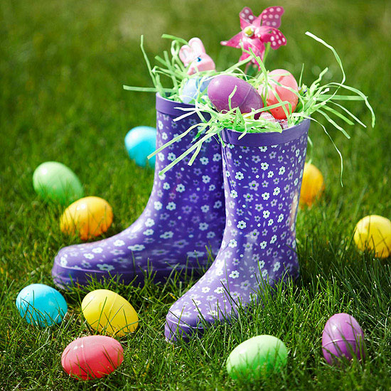 Spring Rain Boot with Colored Eggs