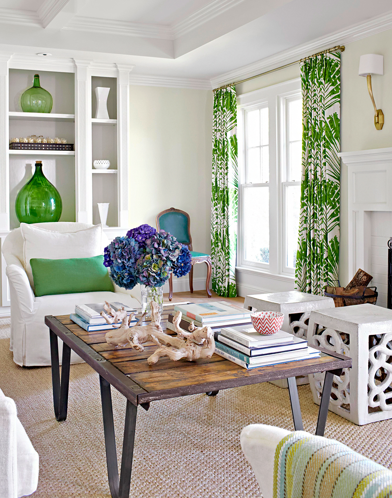 traditional sitting area with green accents